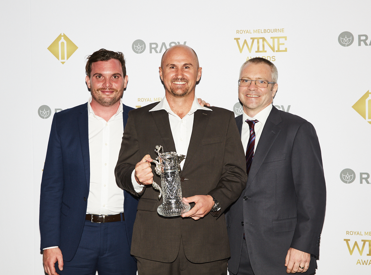 The Jimmy Watson Memorial Trophy for Best Young Red Wine recipients Brendan Carr, Glenn Goodall, Darren Rathbone