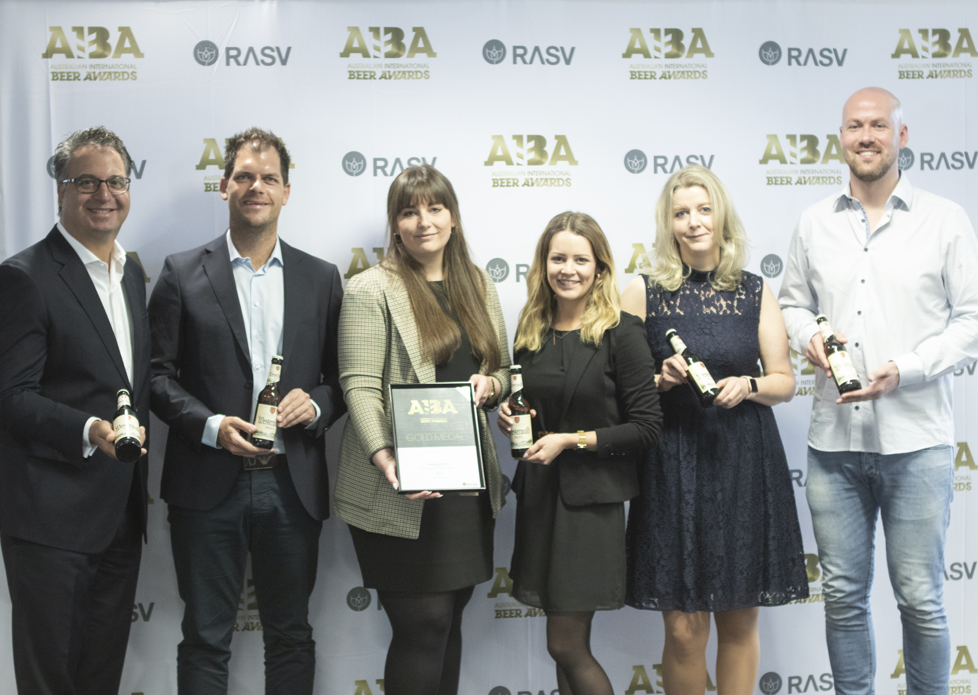 From left: Paul Guerra, CEO, The Royal Agricultural Society of Victoria; Jens Geimer, CEO, Westerwald-Brewery; Sarah Schorge, Head of Export, Westerwald-Brewery, Julika Mueller, Marketing Manager, Westerwald-Brewery; and prize winners Bianca Hof AND Paul Morton.